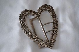 Victorian Sterling Silver Heart Shaped Belt Buckle - Antique Silver Buckle(SOLD)